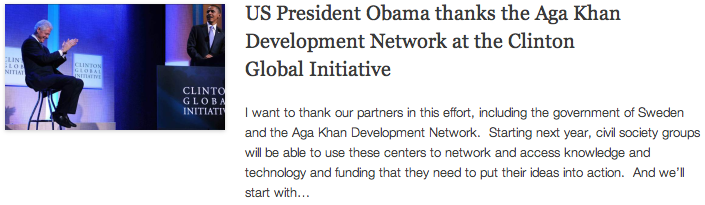 CGI - US President Obama thanks the Aga Khan Development Network at the Clinton Global Initiative