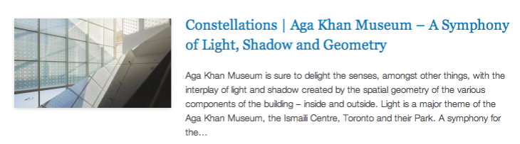 Constellations - Aga Khan Museum – A Symphony of Light, Shadow and Geometry