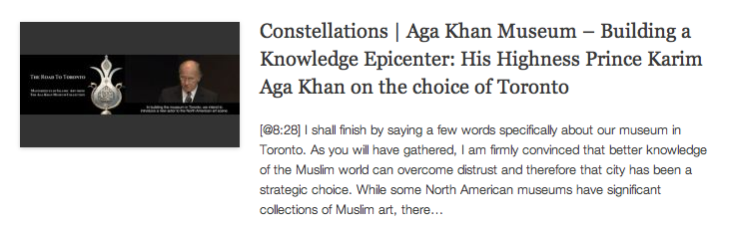 Constellations - Aga Khan Museum – Building a Knowledge Epicenter - His Highness Prince Karim Aga Khan on the choice of Toronto