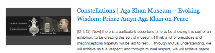 Constellations - Aga Khan Museum – Evoking Wisdom - Prince Amyn Aga Khan on Peace