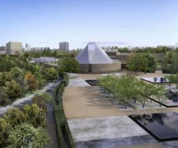 Constellations - Aga Khan Park, Toronto – Echoes of Paradise - the Garden and Flora in Islamic Art - The Ismaii Centre, Toronto surrounded by the Gardens of the Park, image courtesy of Imara Wynford Drive