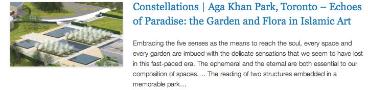 Constellations - Aga Khan Park, Toronto – Echoes of Paradise - the Garden and Flora in Islamic Art