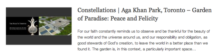 Constellations - Aga Khan Park, Toronto – Garden of Paradise - Peace and Felicity