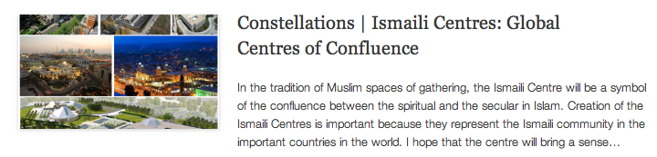 Constellations - Ismaili Centres - Global Centres of Confluence