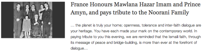 France Honours Mawlana Hazar Imam and Prince Amyn, and pays tribute to the Noorani Family