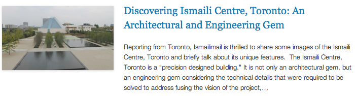 IM Reporting from TO - Discovering Ismaili Centre, Toronto - An Architectural and Engineering Gem