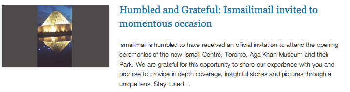 IM Reporting from TO - Humbled and Grateful - Ismailimail invited to momentous occasion