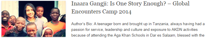 Inaara Gangji: Is One Story Enough? – Global Encounters Camp 2014