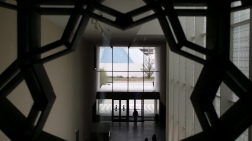 Ismaili Centre, Toronto, through the jali window of the exhibition gallery of Aga Khan Museum.