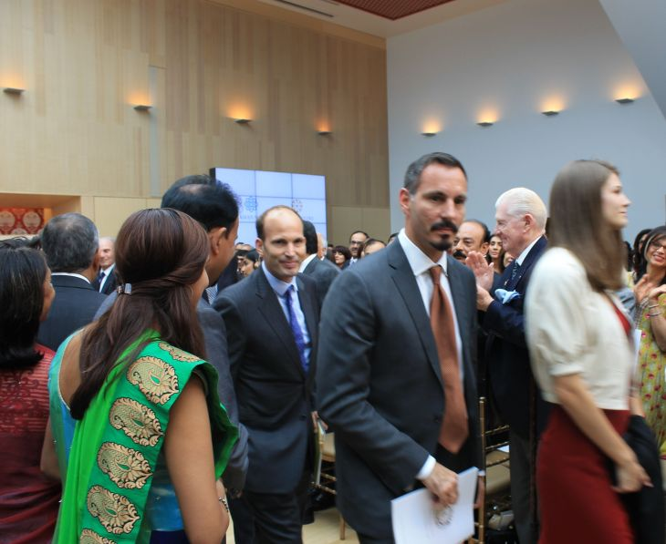 Prince Rahim with Princess Salwa, and Prince Hussain, departing after Ismaili Centre, Toronto was declared open.  [Image © Ismailimail/AM]