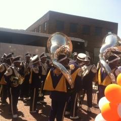 Marching band ready to go at Birmingham Partnership Walk