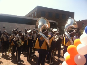Marching band ready to go at Birmingham Partnership Walk