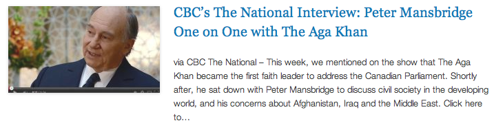 Mansbridge One on One with His Highness Prince Karim Aga Khan