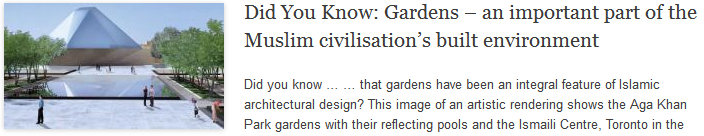Did You Know: Gardens – an important part of the Muslim civilisation's built environment