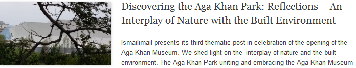 Discovering the Aga Khan Park: Reflections – An Interplay of Nature with the Built Environment