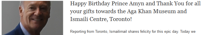 Happy Birthday Prince Amyn and Thank You for all your gifts towards the Aga Khan Museum and Ismaili Centre, Toronto!