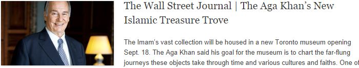 The Wall Street Journal | The Aga Khan's New Islamic Treasure Trove