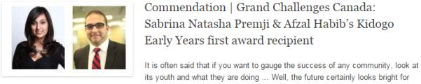 Commendation | Grand Challenges Canada: Sabrina Natasha Premji & Afzal Habib's Kidogo Early Years first award recipient