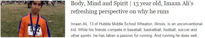 Body, Mind and Spirit | 13 year old, Imaan Ali's refreshing perspective on why he runs