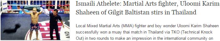Ismaili Athelete: Martial Arts fighter, Uloomi Karim Shaheen of Gilgit Baltistan stirs in Thailand