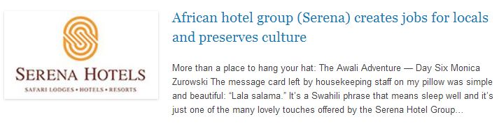 African hotel group (Serena) creates jobs for locals and preserves culture