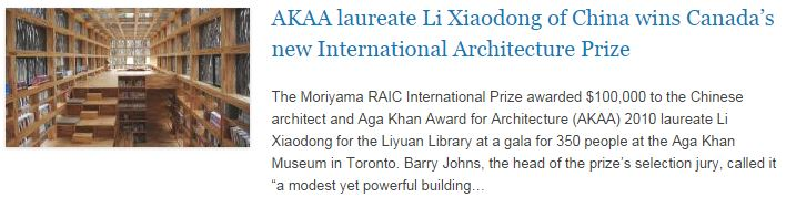 AKAA laureate Li Xiaodong of China wins Canada's new International Architecture Prize