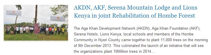 AKDN, AKF, Serena Mountain Lodge and Lions Kenya in joint Rehabilitation of Hombe Forest