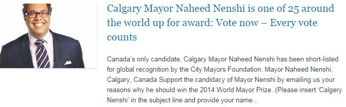 Calgary Mayor Naheed Nenshi is one of 25 around the world up for award - Vote now – Every vote counts