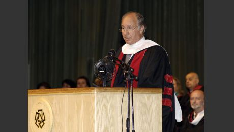 His Highness the Aga Khan delivering the commencement address at the American University in Cairo. - Photo: AKDN/Gary Otte