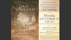 Event October 27 | Ismaili Centre, Burnaby: An evening with Giller Prize winning author M.G. Vassanji