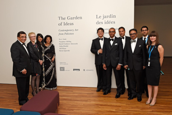 "Henry Kim, the CEO of the Aga Khan Museum pictured with members of Aljomaih Group, Trimark Capital, and Asharys who supported the inaugural exhibition entitled ""The Garden of Ideas: Contemporary Art from Pakistan."" Pictured (l to r): Aziz Shariff, Ann Smiley, Carolina Shariff, Ashraf Shariff, Henry Kim, Herve Steimes, Eric Hamid, Shan Ashary, Hussein Shamji, and Fallon Butler. (Photo: Gary Otte/AKDN. Copyright)."