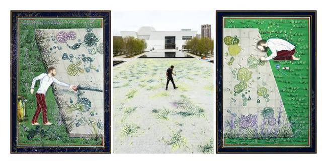The Garden Within - Self Portraits by Imran Qureshi for The Garden of Ideas exhibition at the Aga Khan Museum<br />  (Image Imran Gurashi).
