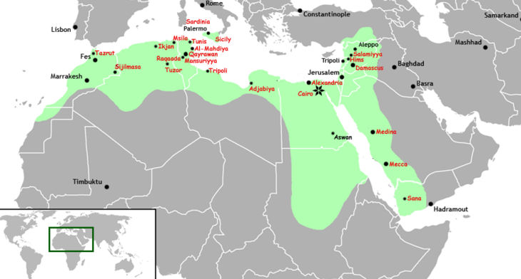 Extent of the Fatimid Caliphate: <br> Egypt became the epicenter of the Fatimid empire that included at its peak North Africa, Sicily, Palestine, Lebanon, Syria, the Red Sea coast of Africa, Yemen and the Hejaz. <br>Egypt flourished as the Fatimids developed an extensive trade and diplomatic network and ties which extended all the way to China in the east. <br> Image via Wikipedia - click to enlarge
