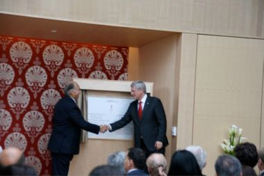 His Highness the Aga Khan and Canadian Prime Minister Stephen Harper after unveiling the commemorative plaque of the Ismaili Centre, Toronto. (Image Mansoor Ladha)
