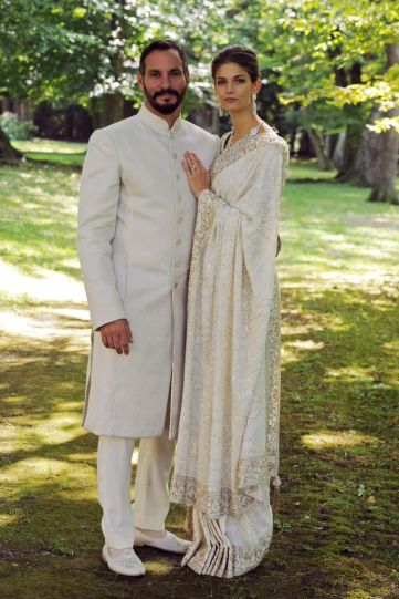 PR - 5 - Prince Rahim Aga Khan and Princess Salwa pose together during their wedding ceremony on August 31, 2013 in Geneva, Switzerland. Photo by Gary OtteThe Ismaili via Getty Images