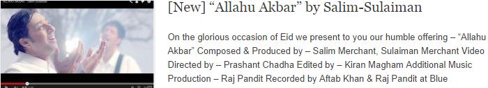 """""""Allahu Akbar"""" by Salim-Sulaiman"""