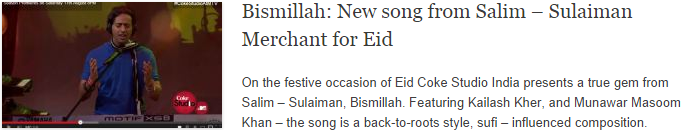 Bismillah: New song from Salim – Sulaiman Merchant for Eid
