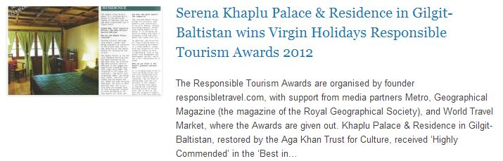 Serena Khaplu Palace & Residence in Gilgit-Baltistan wins Virgin Holidays Responsible Tourism Awards 2012