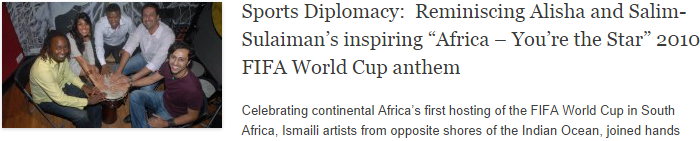 "Sports Diplomacy:  Reminiscing Alisha and Salim-Sulaiman's inspiring ""Africa – You're the Star"" 2010 FIFA World Cup anthem"
