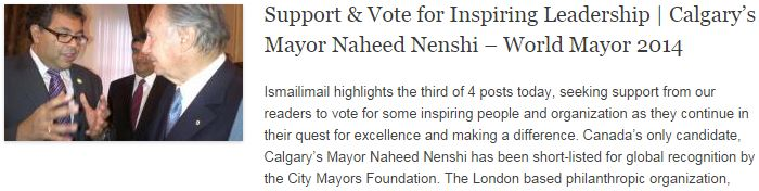Support n Vote for Inspiring Leadership - Calgary's Mayor Naheed Nenshi – World Mayor 2014