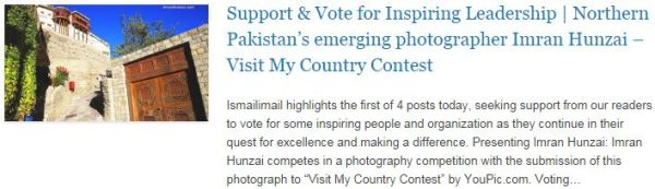 Support n Vote for Inspiring Leadership - Northern Pakistan's emerging photographer Imran Hunzai – Visit My Country Contest