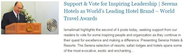 Support n Vote for Inspiring Leadership - Serena Hotels as World's Leading Hotel Brand – World Travel Awards