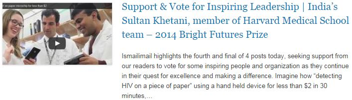 Support & Vote for Inspiring Leadership - India's Sultan Khetani, member of Harvard Medical School team – 2014 Bright Futures Prize