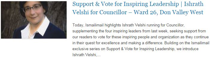 Support & Vote for Inspiring Leadership - Ishrath Velshi for Councillor – Ward 26, Don Valley West