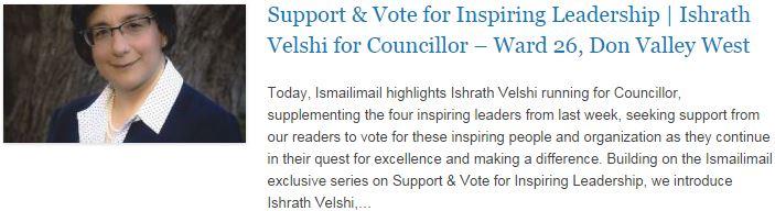Support & Vote for Inspiring Leadership - Ishrath Velshi for Councillor – Ward 26, Don Valley West