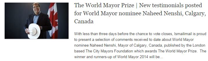 The World Mayor Prize - New testimonials posted for World Mayor nominee Naheed Nenshi, Calgary, Canada