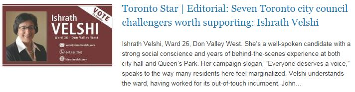 Toronto Star - Editorial - Seven Toronto city council challengers worth supporting - Ishrath Velshi