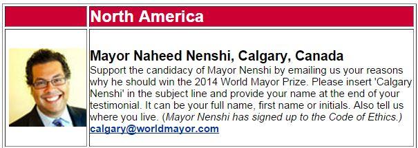 World Mayor - Mayor Naheed Nenshi
