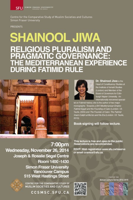 Event - November 26: Simon Fraser University, Vancouver | Shainool Jiwa - Religious Pluralism and Pragmatic Governance: The Mediterranean Experience during Fatimid Rule