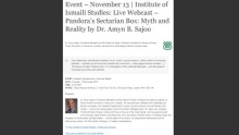 Event - November 13 | Institute of Ismaili Studies: Live Webcast - Pandora's Sectarian Box: Myth and Reality by Dr. Amyn B. Sajoo